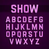 Broadway enciende alfabeto de la bombilla del estilo stock de ilustración