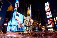 Broadway esquadra às vezes em Noite Fotos de Stock Royalty Free