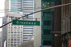 Broadway firma dentro Manhattan, New York Immagine Stock Libera da Diritti