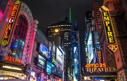 Broadway illuminated signboard,Manhattan Royalty Free Stock Image