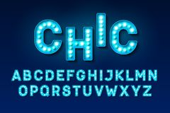 Broadway lights style light bulb alphabet. Night show Stock Photo