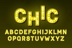 Broadway lights style light bulb font stock illustration