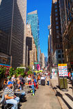 Broadway in Manhattan, New York City. New York City, USA - October 06, 2016: Broadway with unidentified people in Manhattan. Its the oldest north–south main stock photo