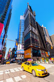 Broadway in Manhattan, New York City. New York City, USA - October 06, 2016: Broadway with unidentified people in Manhattan. Its the oldest north–south main Royalty Free Stock Photo