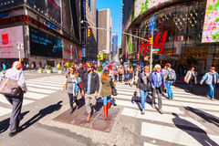 Broadway in Manhattan, New York City. New York City, USA - October 06, 2016: Broadway with unidentified people in Manhattan. Its the oldest north-south main royalty free stock photography