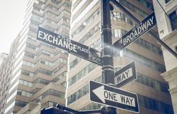 Broadway and market exchange. Street indication in New york city royalty free stock image