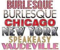 Broadway Marquee Burlesque Word Collection. Broadway Word Collection in various forms such as marquee, burlesque, diva, Chicago, New York, speakeasy, and Stock Image