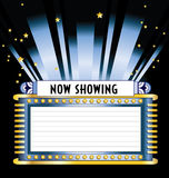 Broadway Movie Marquee. Art deco style broadway movie marquee with space for listing of movies with spotlights, neon tubes, and stars shining in the night sky