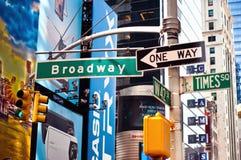 Broadway, muestra de calle de New York City Imágenes de archivo libres de regalías