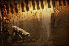 Broadway music. Old historical new york background with broadway royalty free illustration