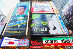 Broadway musicals. Sign posters in New York Cities Times Square.  February 2012 Royalty Free Stock Photos