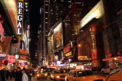 Broadway nachts Stockbild