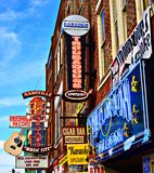 Broadway Nashville. Honky-tonks on Lower Broadway June 16, 2013 in Nashville, Tennessee. The district is famous for the numerous country music entertainment Stock Photo