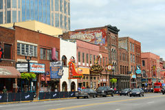Broadway, Nashville, Tennessee, USA. Honky tonk Bars on historical Broadway in downtown Nashville, Tennessee, USA. Lower Broadway is famous for entertainment Stock Images