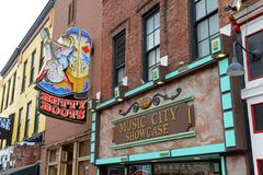 Broadway, Nashville, Tennessee, USA. Honky tonk Bars on historical Broadway in downtown Nashville, Tennessee, USA. Lower Broadway is famous for entertainment Stock Image