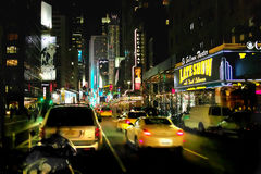 Broadway New York USA. Looking South towards Times Square down Broadway from 53d Street pqst the Ed Sullivan Theatre Stock Image