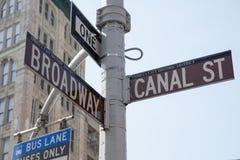 Broadway och kanalgata Royaltyfri Fotografi