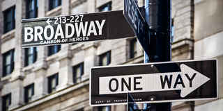 Broadway and one way direction signs, New York City Royalty Free Stock Images