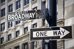 Broadway and one way direction signs, New York City Royalty Free Stock Photography
