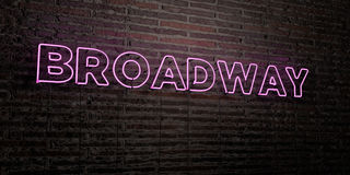 BROADWAY -Realistic Neon Sign on Brick Wall background - 3D rendered royalty free stock image Stock Photos