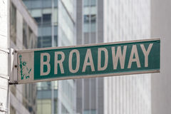 Broadway Roadsign. Roadsign of Manhattans famous Broadway with blurred background Royalty Free Stock Photo
