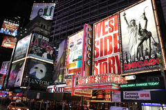 Broadway show advertisements. Corner of Times Square at 7th Avenue showing advertisement billboards for Broadway shows in Manhattan, New York City. Photo taken Stock Photo