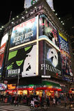 Broadway show advertisements. Corner of Times Square at 7th Avenue showing advertisement billboards for Broadway shows in Manhattan, New York City. Photo taken Royalty Free Stock Image