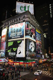 Broadway show advertisements. Corner of Times Square at 7th Avenue showing advertisement billboards for Broadway shows in Manhattan, New York City. Photo taken Stock Photography