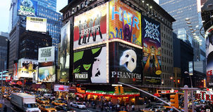 Broadway show advertisements. Corner of Times Square at 7th Avenue showing advertisement billboards for Broadway shows in Manhattan, New York City Royalty Free Stock Photography