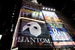 Broadway showannonseringar Arkivfoto
