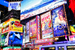 Broadway shows New York. Broadway shows productions billboards / advertisements in Times Square, New York city