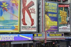 Broadway shows posters in Times Square, New York City. Broadway shows posters in Times Square , New York City, USA stock photos