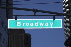 Broadway sign. An illuminated broadway sign in Manhattan Stock Image