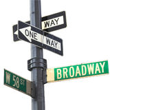 Broadway sign. In Manhattan New York isolated against white Royalty Free Stock Photography