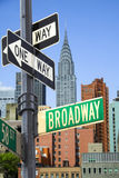 Broadway sign. In front of New York City skyline Royalty Free Stock Photo