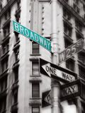 Broadway sign. Green broadway street sign, black and white photo, new york Royalty Free Stock Photo