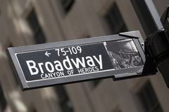 Broadway street sign in lower Manhattan, New York City. Royalty Free Stock Photography