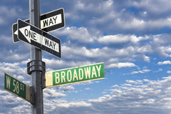 Broadway sign in Manhattan New York. Against a cloudy sky Stock Images