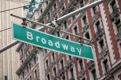 Broadway sign in manhattan, new york Stock Photos