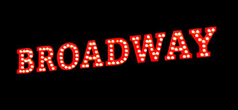 Broadway Lights Sign. Broadway sign in red with bright white lights on black background Royalty Free Stock Photo