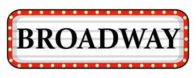 Broadway sign with red frame. Illustration royalty free illustration