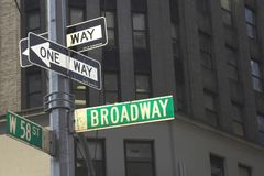Broadway signpost. Broadway directional signpost in Manhattan Royalty Free Stock Photo