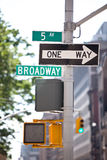 Broadway signpost. Broadway directional signpost in Manhattan Stock Photography