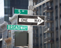 Broadway signpost. Broadway directional signpost in Manhattan Stock Photo