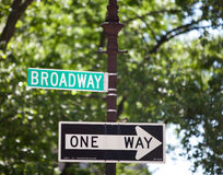 Broadway signpost. Broadway directional signpost in Manhattan Stock Images