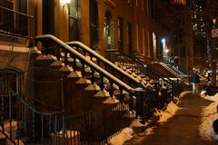 Broadway snow street scene, New York, New York, USA Royalty Free Stock Photo