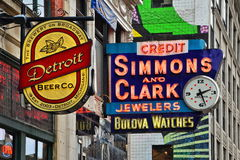 Broadway Street in Detroit. Simmons & Clark Jewelers in Detroit on Broadway stock photography