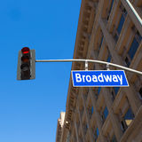 Broadway street Los Angeles Road sign in redlight Stock Photography