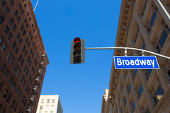 Broadway street Los Angeles Road sign in redlight Royalty Free Stock Photo