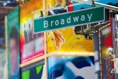 Broadway street sign. In Times Square, Manhattan, New York stock images